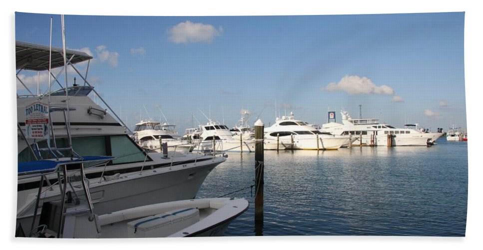 Harbor Beach Towel featuring the photograph Marina Key West - Harbored Fun by Christiane Schulze Art And Photography