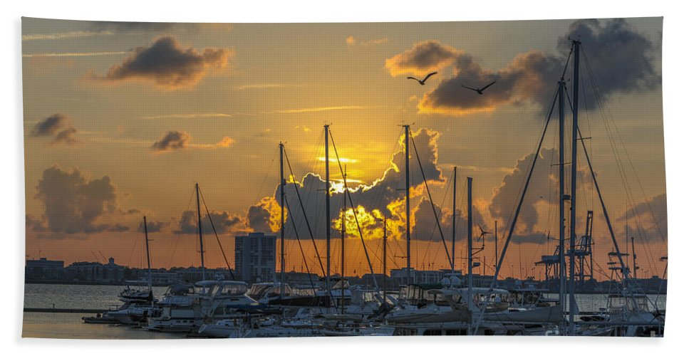 Marina Beach Towel featuring the photograph Marina Sunset by Dale Powell