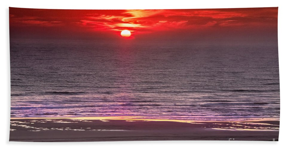 Sunset Beach Towel featuring the photograph Marine Sunset by Robert Bales