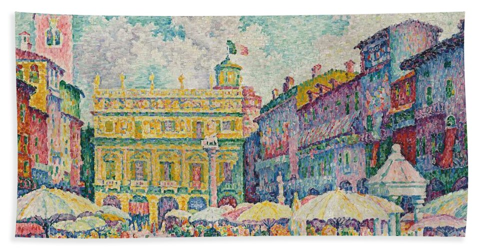 Pointillist; Divisionist; Marche De Verone; La Place Aux Herbes; Market; Marketplace; Verona; Italy; Italian; Picturesque; Town; City; Urban; Square; Piazza; Street Scene; Sunny; Umbrellas; Parasols; Stalls; Herbs; Bright; Colorful; Post Impressionist; Post-impressionist Beach Towel featuring the painting Market Of Verona by Paul Signac