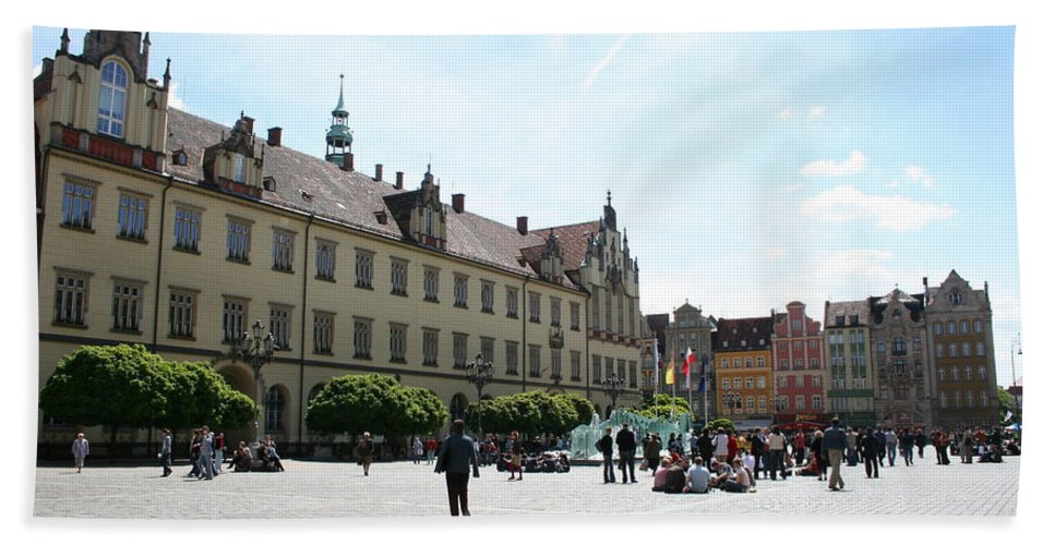 Market Place Beach Towel featuring the photograph Market Place Wroclaw by Christiane Schulze Art And Photography