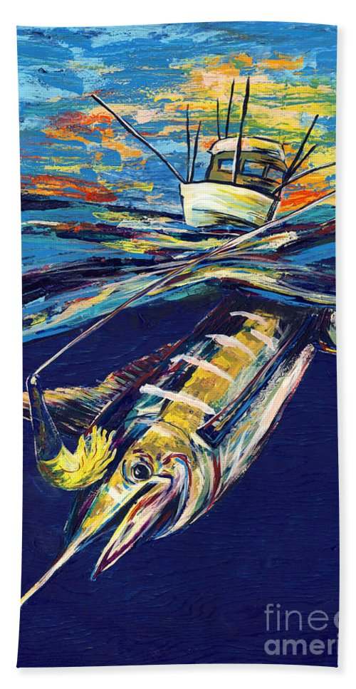 Lovejoy Beach Towel featuring the painting Marlin Catch by Lovejoy Creations