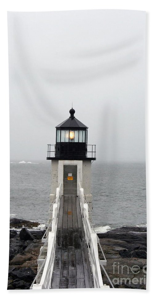 Lighthouse Beach Towel featuring the photograph Marshall Point Light On A Foggy Day by Christiane Schulze Art And Photography
