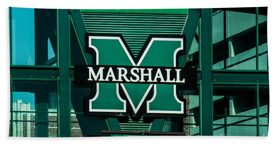 Marshall University Beach Towel featuring the photograph Marshall University by Tommy Anderson