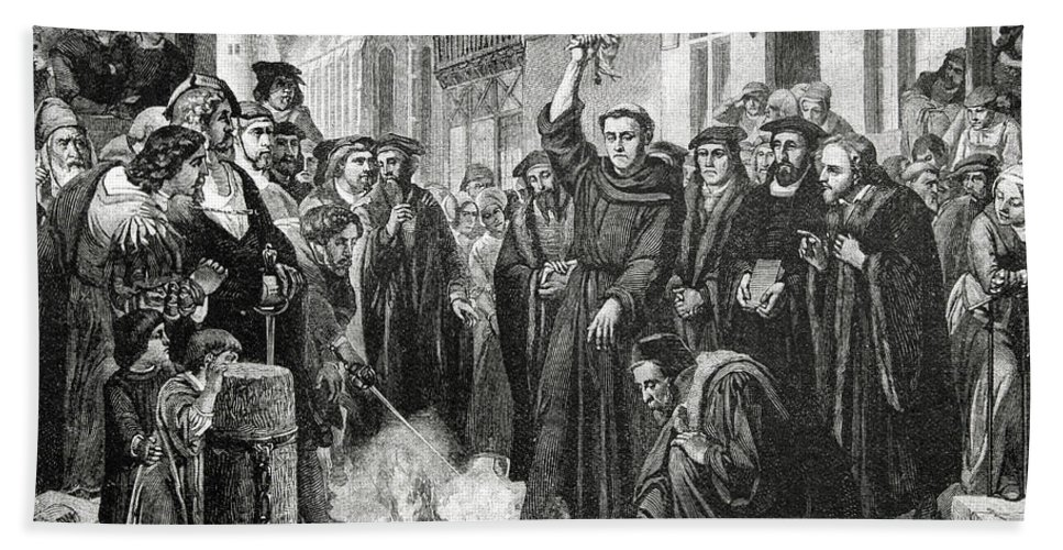German; Theologian; Reformer; Initiated The Protestant Reformation; Founded Protestantism; Priest; Friar; Revolutionary Beach Towel featuring the drawing Martin Luther 1483 1546 Publicly Burning The Pope's Bull In 1521 by English School
