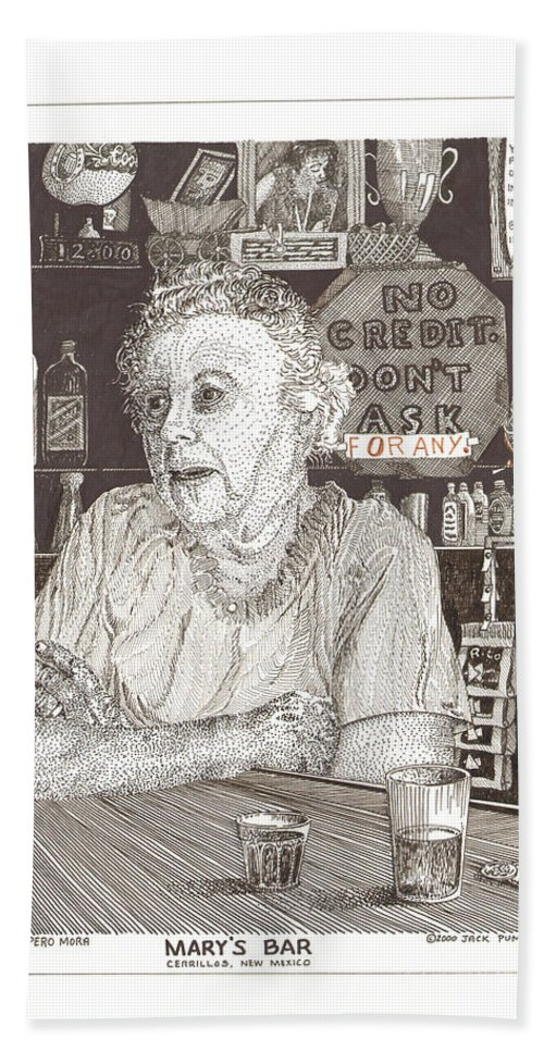Mary Mora Beach Towel featuring the drawing Mary In Marys Bar Cerrillos New Mexico by Jack Pumphrey