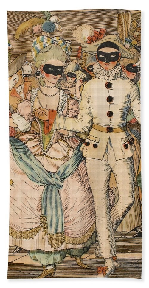 Fun Beach Towel featuring the painting Masked Ball by Konstantin Andreevic Somov
