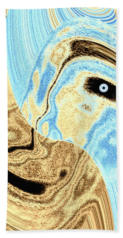Masked- Man Abstract Beach Towel featuring the digital art Masked- Man Abstract by Will Borden