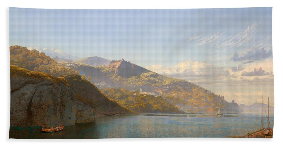 Ships Beach Towel featuring the painting Massa And Bay Of Naples by Mountain Dreams
