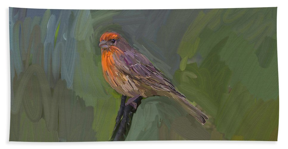 Finch Beach Towel featuring the painting Mating Colors Of The Male Finch by Angela Stanton