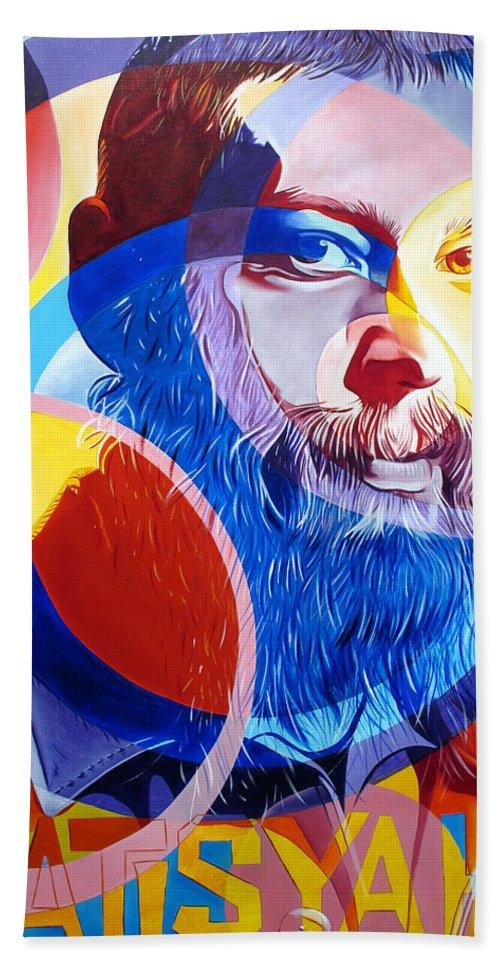 Matisyahu Beach Towel featuring the painting Matisyahu In Circles by Joshua Morton