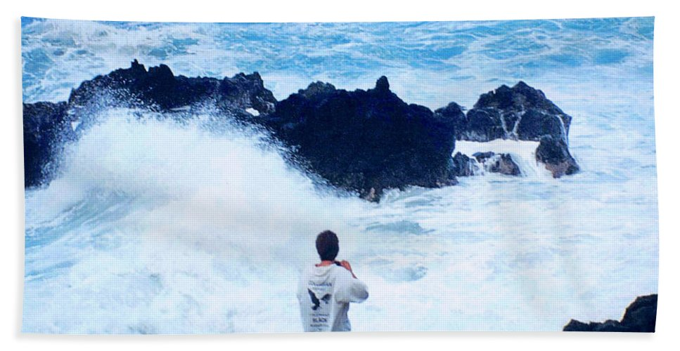 Dusk Beach Towel featuring the photograph Maui Shore At The Keanae Pennisula 2 by J D Owen