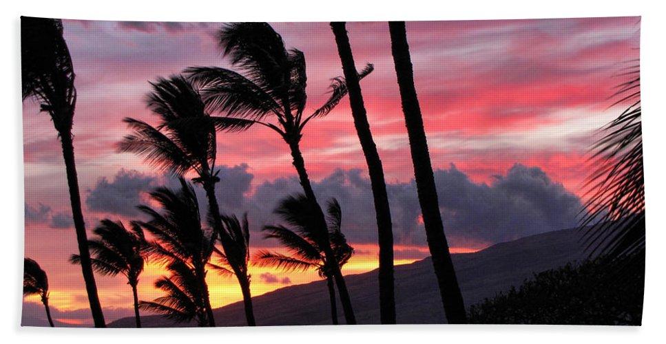 Maui Beach Towel featuring the photograph Maui Sunset by Peggy Hughes
