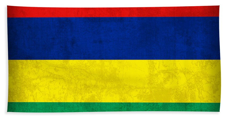 Mauritius Beach Towel featuring the mixed media Mauritius Flag Vintage Distressed Finish by Design Turnpike