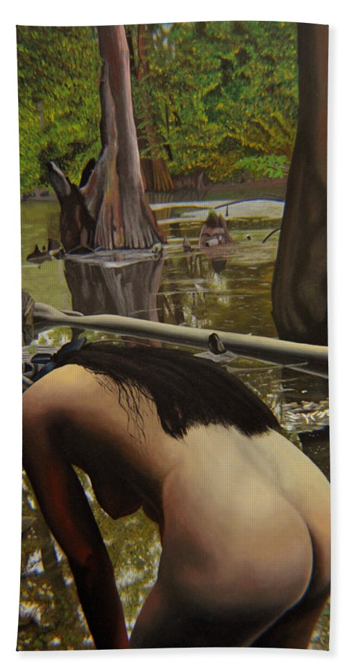 Nude Beach Towel featuring the painting May Morning Arkansas River 2 by Thu Nguyen