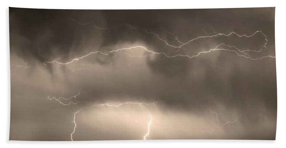 lightning Bolt Pictures Beach Towel featuring the photograph May Showers - Lightning Thunderstorm Sepia 5-10-2011 by James BO Insogna