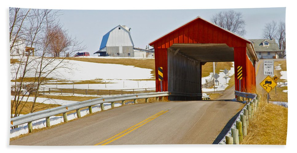 Ohio Beach Towel featuring the photograph Mccolly Covered Bridge by Jack R Perry