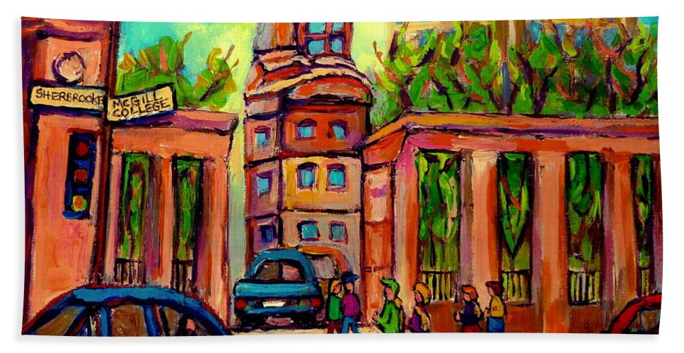 Mcgill University Beach Towel featuring the painting Mcgill University Roddick Gates Montreal by Carole Spandau