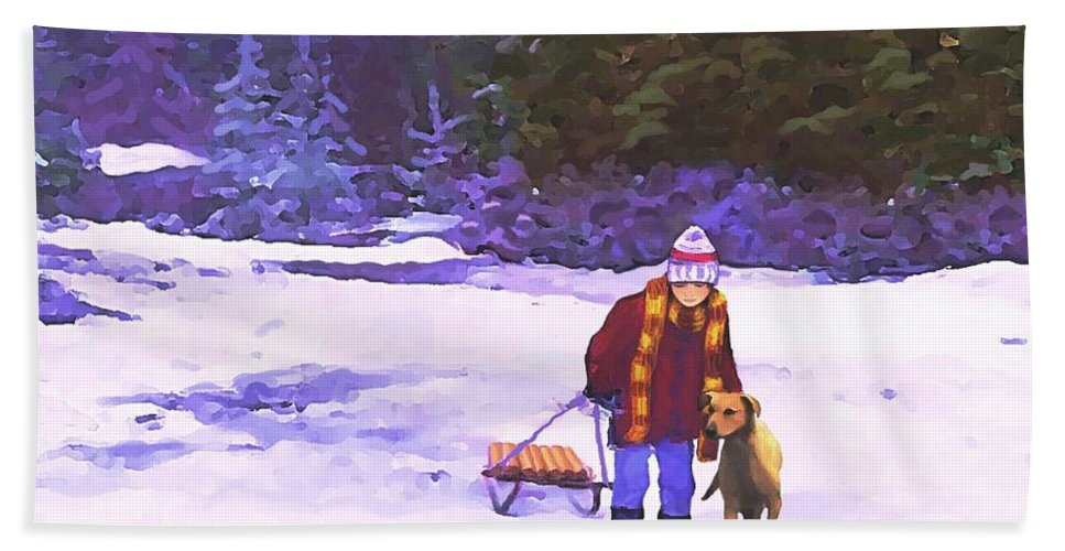Landscape Beach Towel featuring the painting Me And My Buddy by Sophia Schmierer