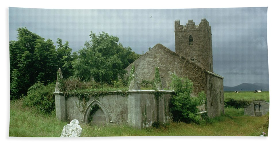 Medieval Church And Churchyard (photo) Site; Remains; Ruin; Ruined; Celtic; Rural; Abandonded; Gravestone; Irish; Goth Beach Towel featuring the painting Medieval Church And Churchyard by Unknown