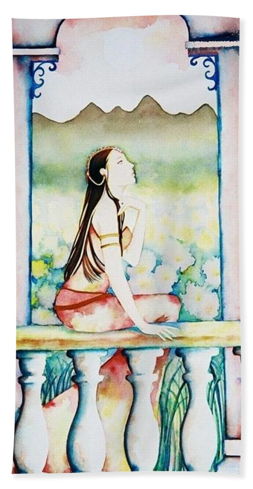Exotic Beach Towel featuring the painting Meditation by Frances Ku