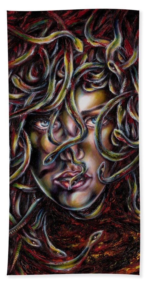 Medusa Beach Towel featuring the painting Medusa No. Three by Hiroko Sakai