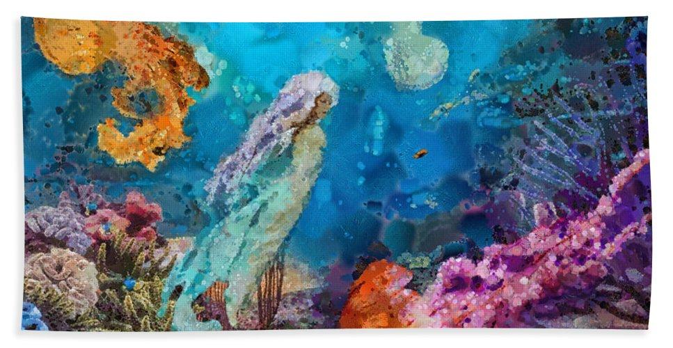 Medusa's Garden Beach Towel featuring the painting Medusa's Garden by Mo T