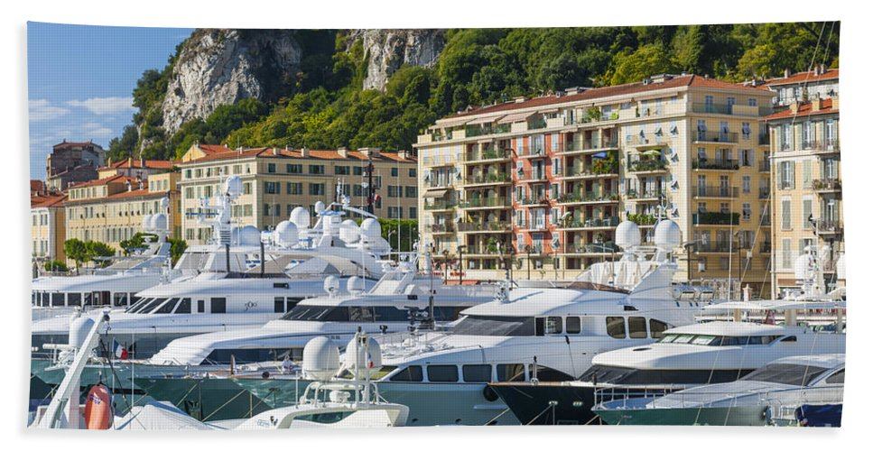 Port Of Nice Beach Towel featuring the photograph Mega Yachts In Port Of Nice France by Elena Elisseeva