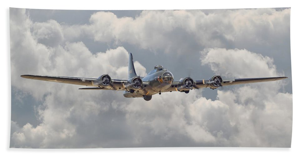 Aircraft Beach Towel featuring the digital art Memphis Belle - Homecoming by Pat Speirs