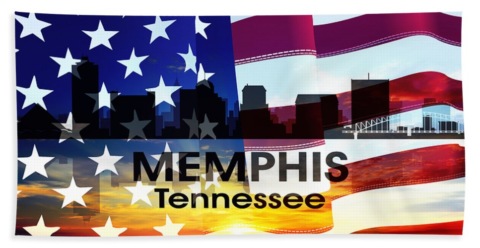 Memphis Beach Towel featuring the mixed media Memphis Tn Patriotic Large Cityscape by Angelina Vick
