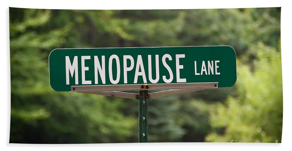 New York Beach Towel featuring the photograph Menopause Lane Sign by Sue Smith