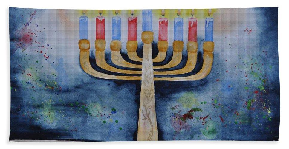 Menorah Beach Towel featuring the painting Menorah by Sally Rice