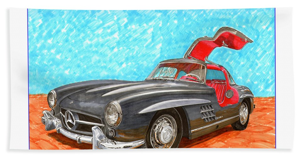 Mercedes Gull Wing Sl300 Beach Towel featuring the painting Mercedes Benz 300 S L Gull Wing by Jack Pumphrey