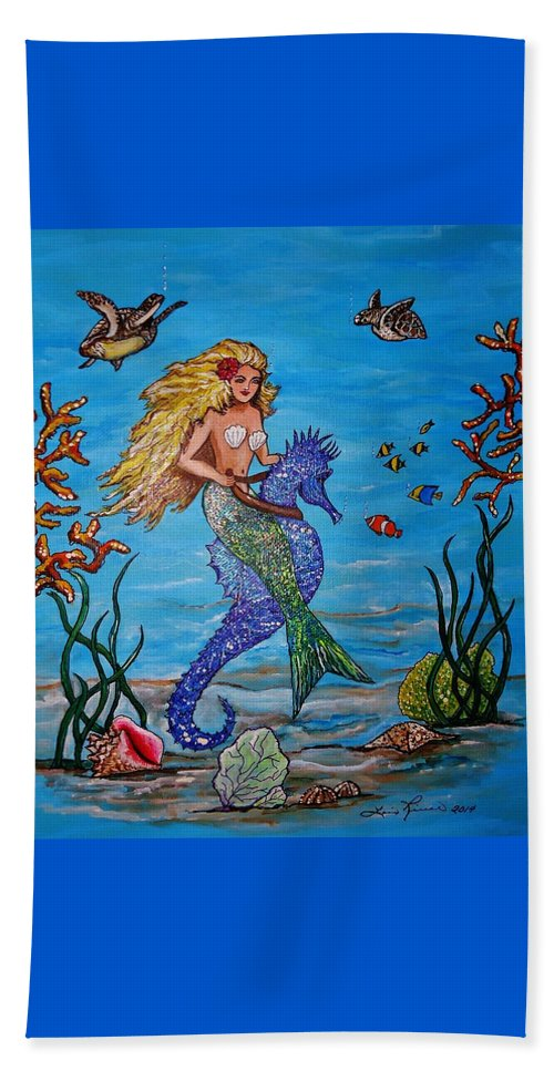 Seahorse Beach Towel featuring the painting Mermaid And Seahorse Morning Swim by Lois  Rivera