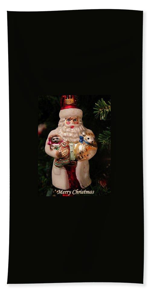 Christmas Beach Towel featuring the photograph Merry Christmas Santa And Animals by Deb Buchanan