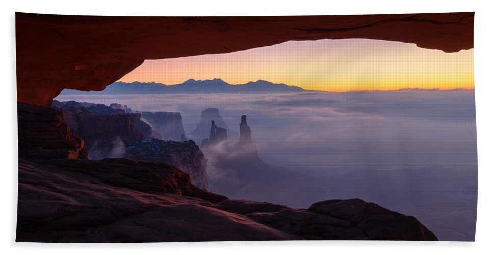 Canyonlands Beach Towel featuring the photograph Mesa Mist by Chad Dutson