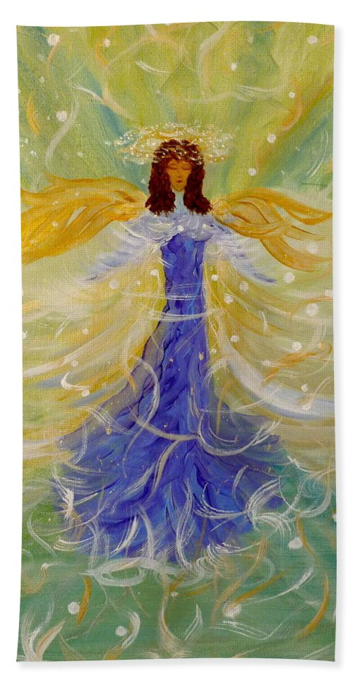 Angelic Being Beach Towel featuring the painting Messages From M K by Sara Credito