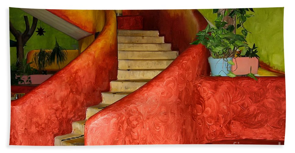Steps Beach Towel featuring the photograph Mexican Colors by Teresa Zieba