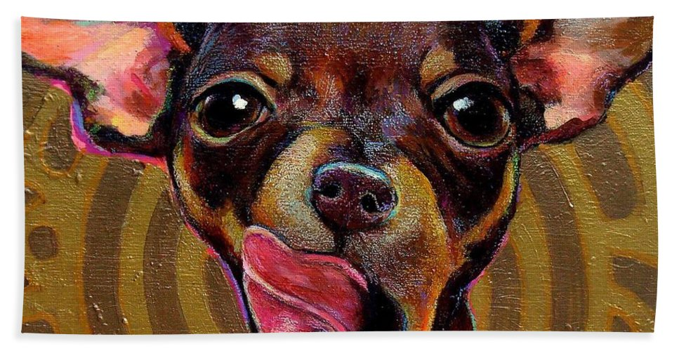 Chihuahua Beach Towel featuring the painting Mexican Mystique by Robert Phelps