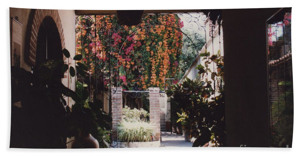 Mexico Beach Towel featuring the photograph Mexico Garden Patio By Tom Ray by First Star Art
