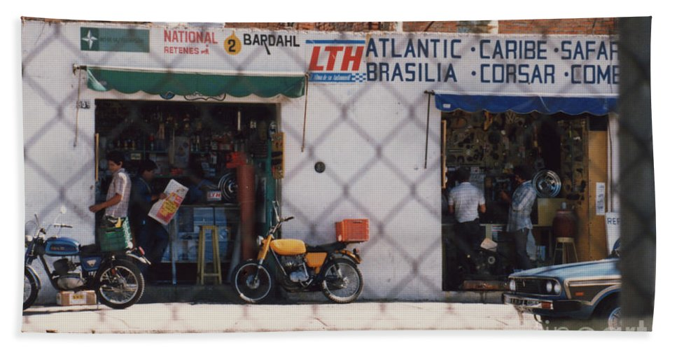 Mexico Beach Towel featuring the photograph Mexico Tiendas Shops By Tom Ray by First Star Art