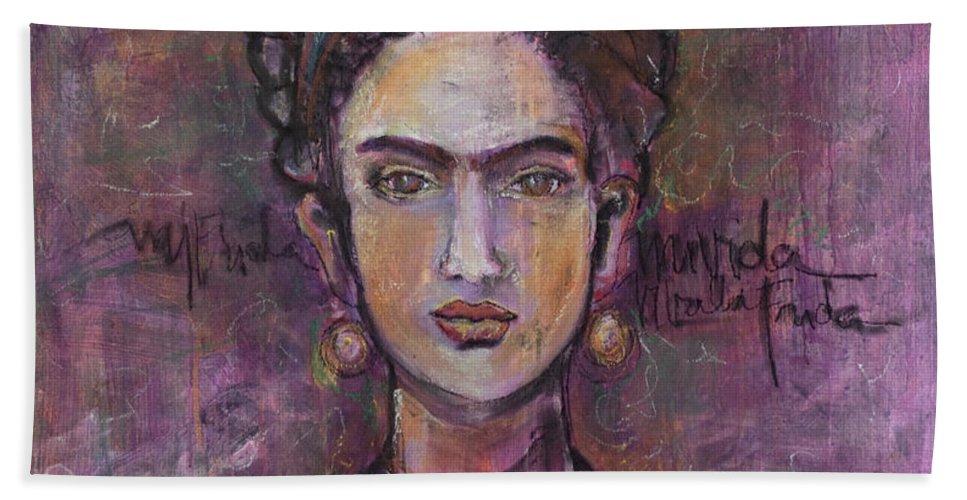 Frida Kahlo Beach Towel featuring the painting Mi Vida Mi Frida by Laurie Maves ART