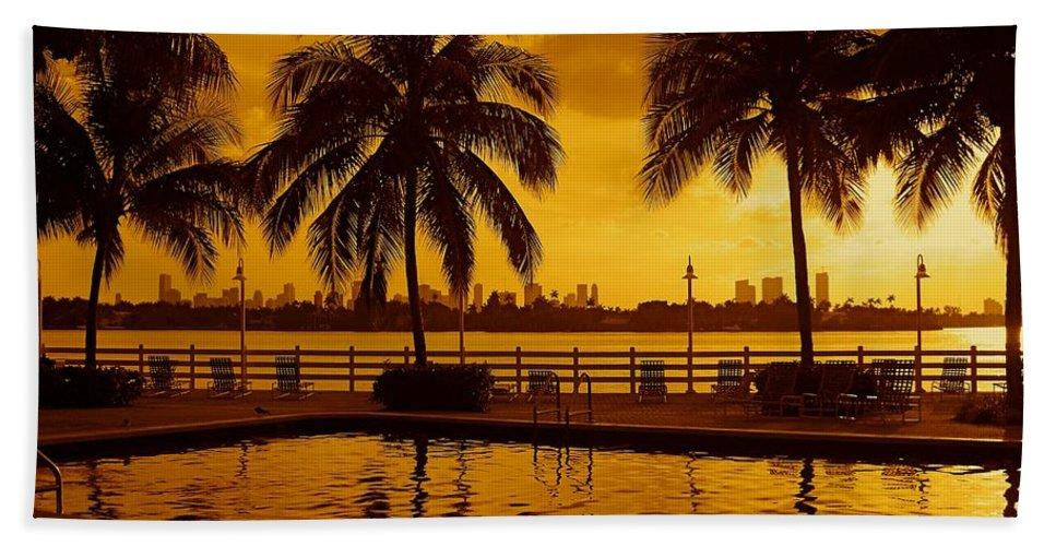 Miami South Beach Print Beach Towel featuring the photograph Miami South Beach Romance by Monique's Fine Art