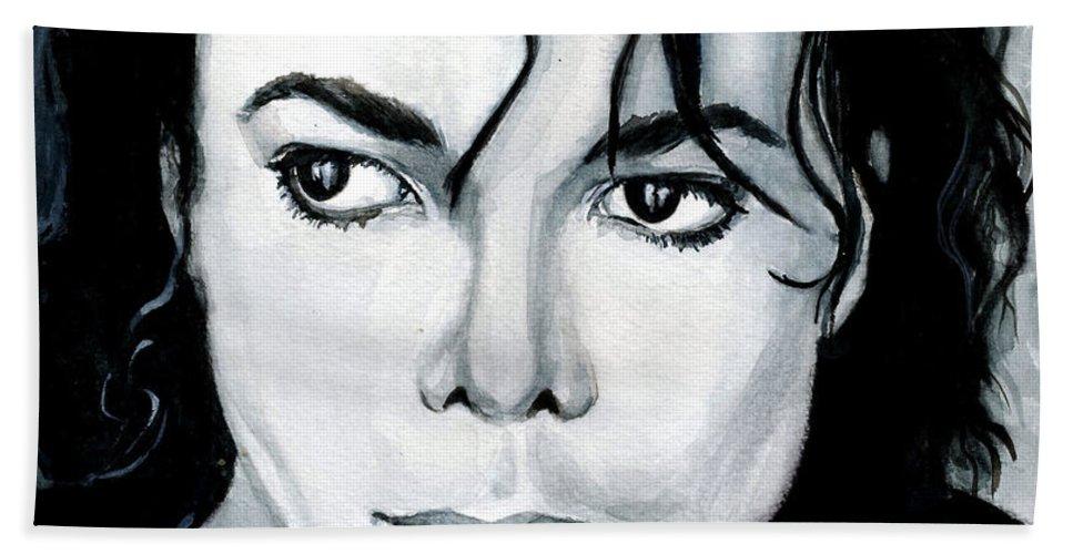 Michael Jackson Beach Towel featuring the painting Michael Jackson Portrait by Alban Dizdari