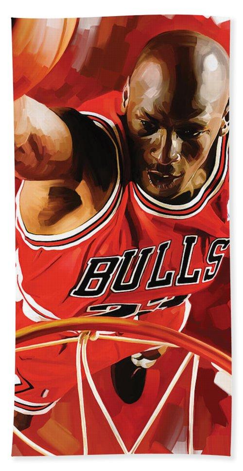 Nba Beach Sheet Featuring The Painting Michael Jordan Artwork 3 By Sheraz A