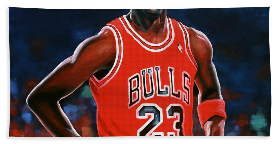 Michael Jordan Beach Towel featuring the painting Michael Jordan by Paul Meijering