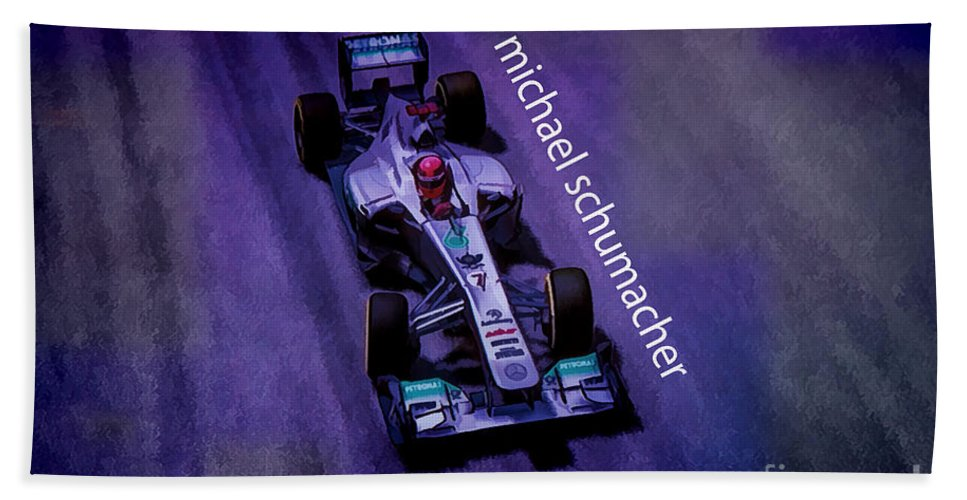 F1 Racer Beach Towel featuring the digital art Michael Schumacher by Marvin Spates
