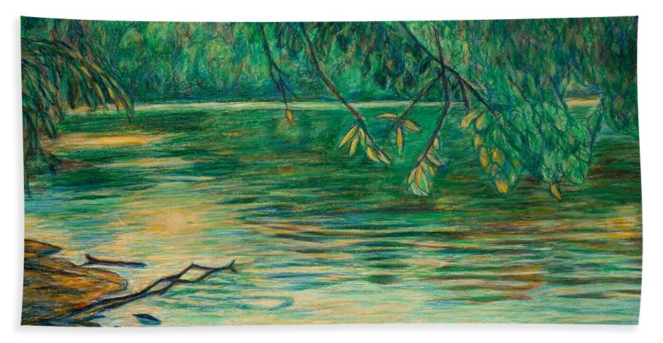 Landscape Beach Towel featuring the painting Mid-spring On The New River by Kendall Kessler