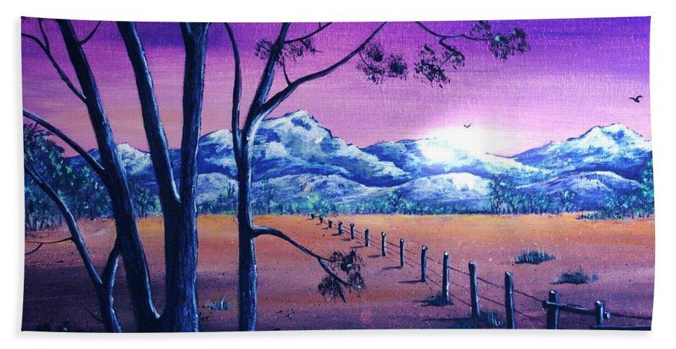 Moon Beach Towel featuring the painting Midnight At The Border by Anastasiya Malakhova