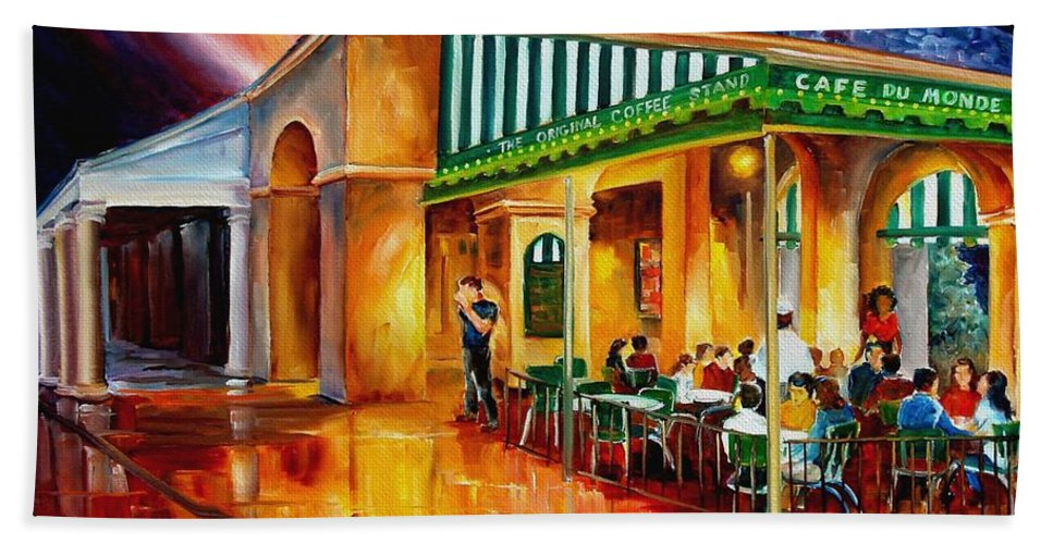 New Orleans Paintings Beach Towel featuring the painting Midnight At The Cafe Du Monde by Diane Millsap